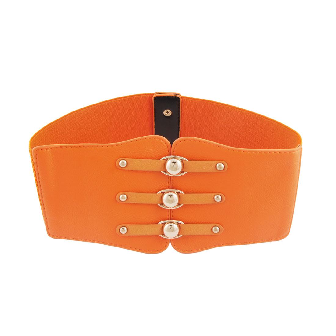 Woman Gold Tone Metal Stud Decor Orange Wide Elastic Cinch Belt