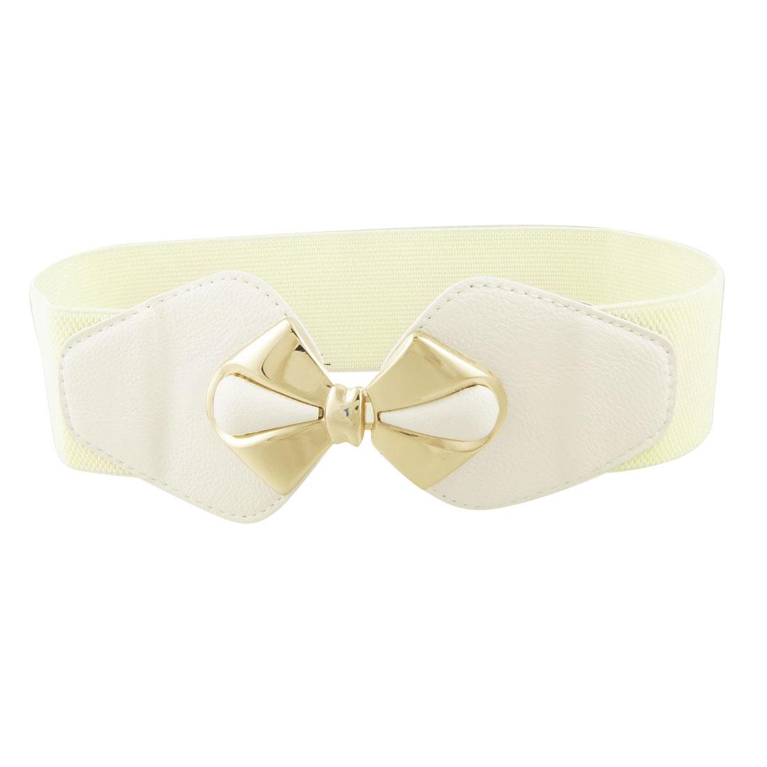 Woman Gold Tone Bowknot Buckle Wide Elastic Beige Cinch Belt