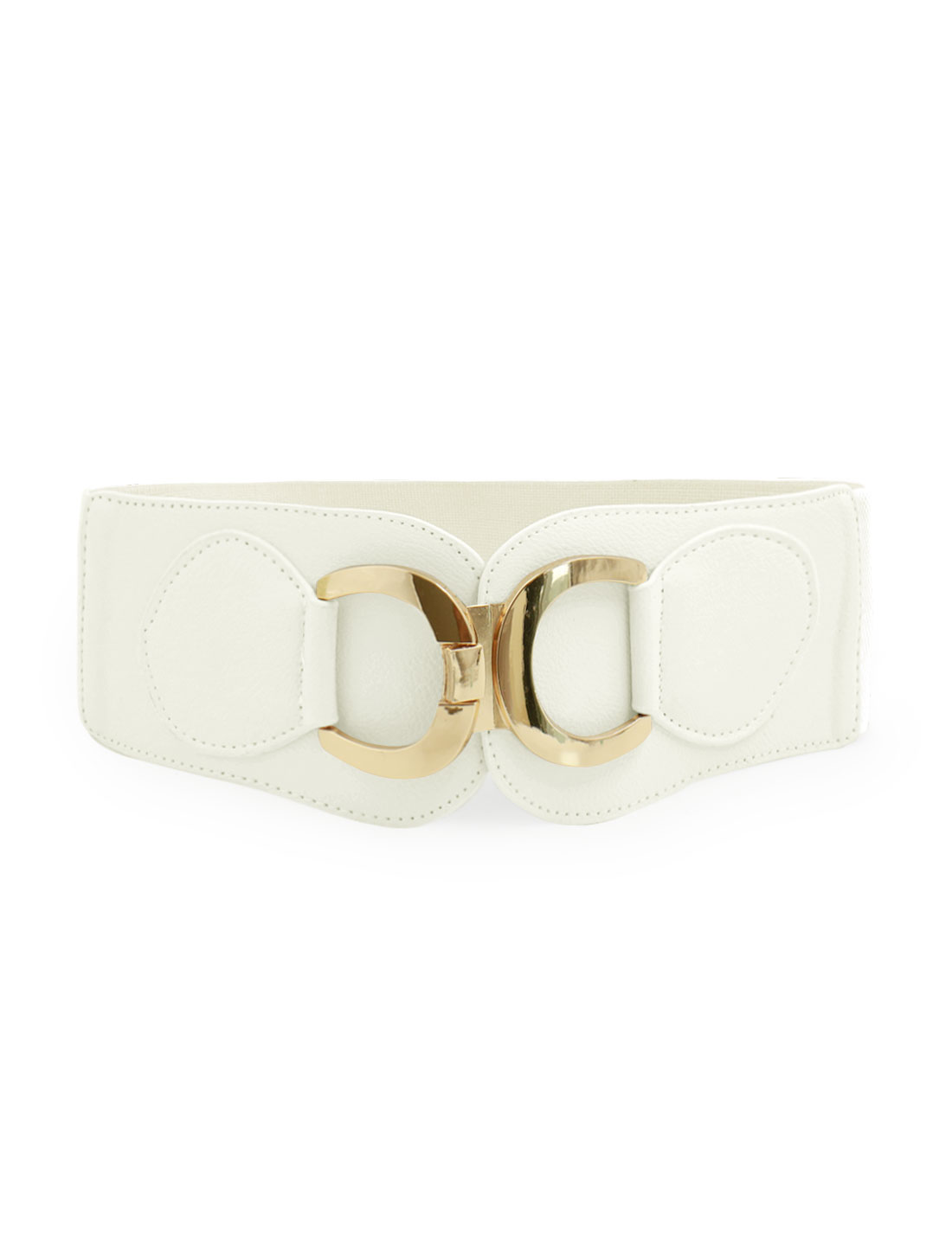 Women Gold Tone Dual D Ring Buckle Off White Wide Elastic Belt