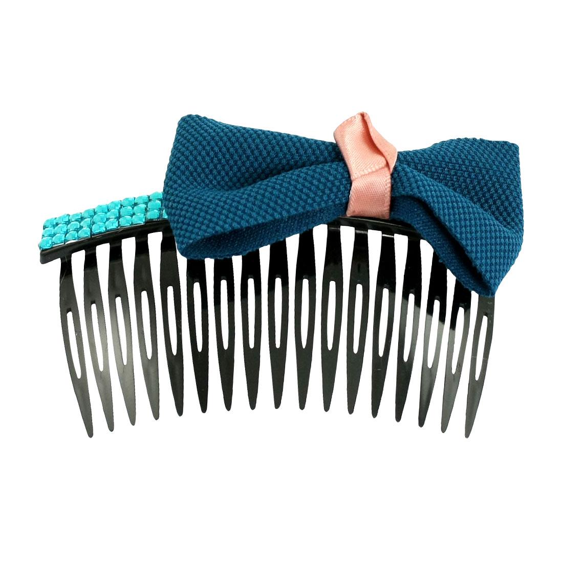 "4"" Wide Teal Blue Bowknot Rhinestone Decor Black Plastic Hair Comb"