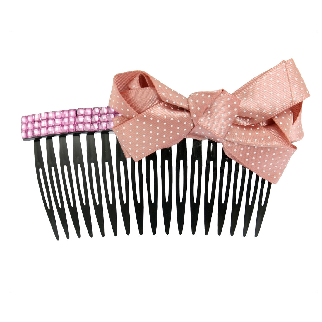Hairdressing Carnation Pink Bow Tie Rhinestone Accent Plastic Hair Comb 4""