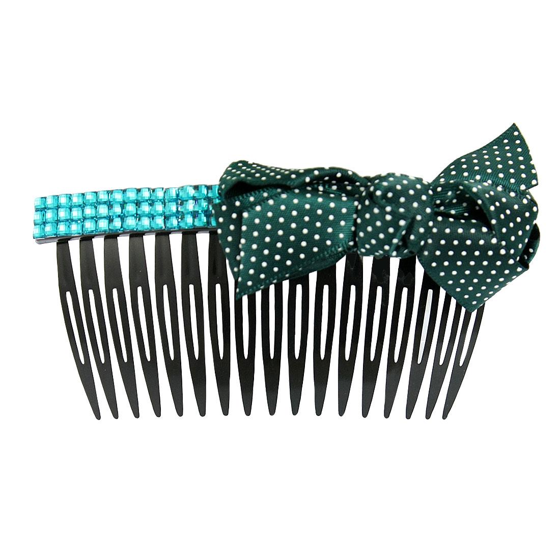 Dark Green Ribbon Bow Tie Rhinestone Accent Black Plastic Hair Comb
