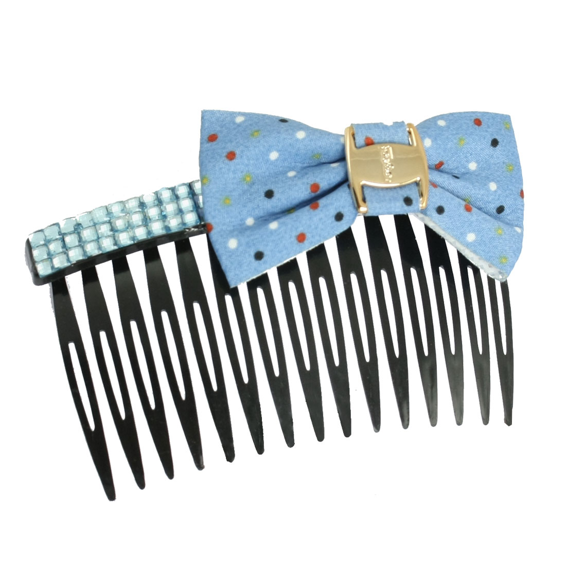 """3.5"""" Width Blue Rhinestone Detail Dotted Bow Tie Plastic Hair Comb"""