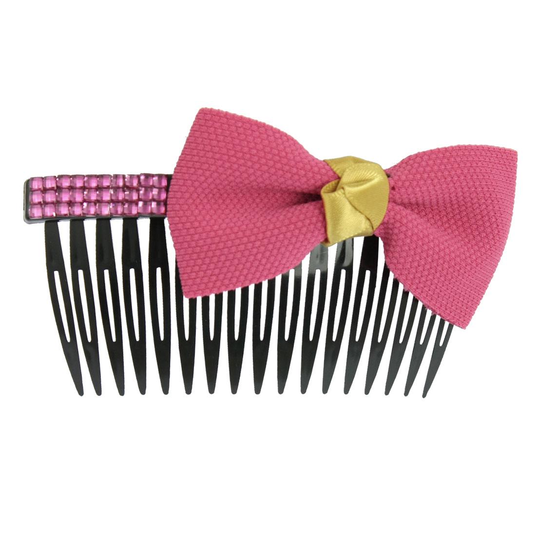 "Amaranth Bowknot Fuchsia Rhinestone Decor Plastic Hair Comb 4"""