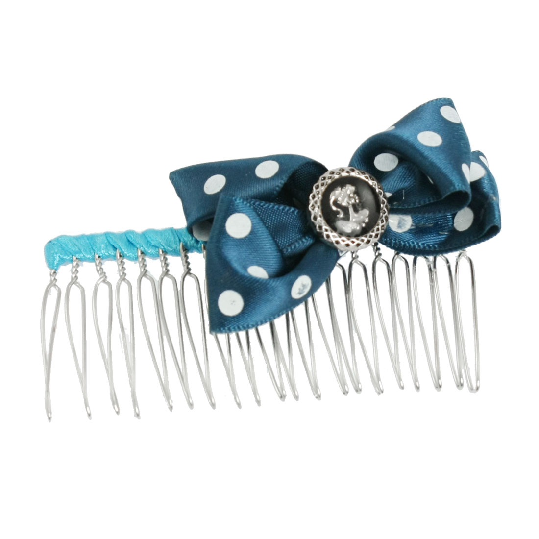 Women Dotted Teal Blue Bow Tie Decor Loop Pin Metal Hair Comb 3""