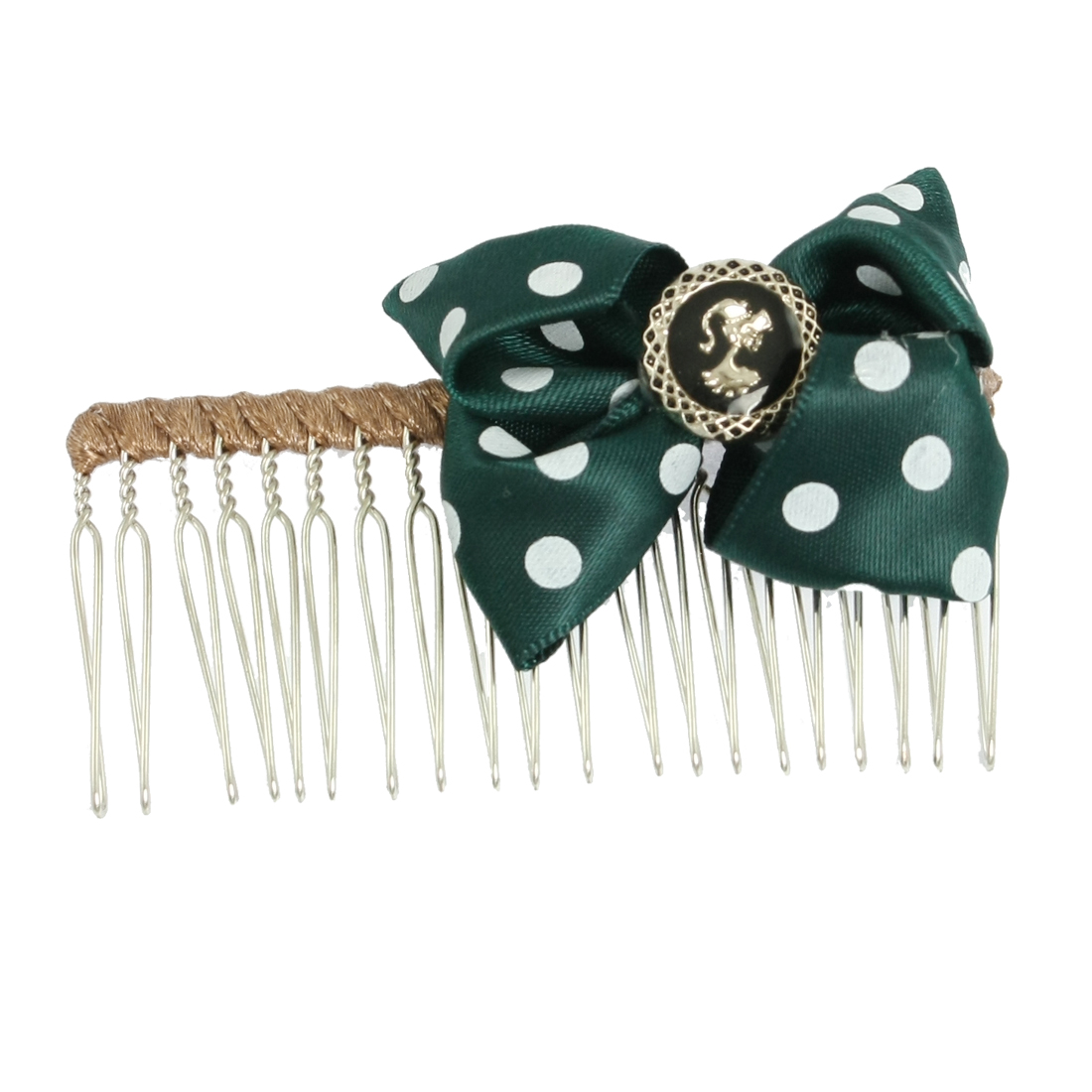 "3"" Width White Dots Dark Green Bowknot Detail Metal Hair Comb for Lady"