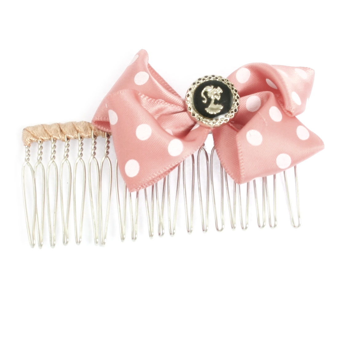 Hairstyling Dotted Watermelon Pink Bowknot Decor Looped Pin Metal Hair Comb