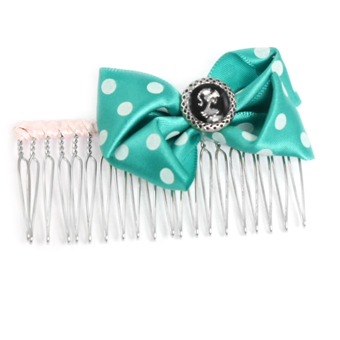 Women Hairstyling Dotted Cyan Bowknot Decor Looped Pin Metal Hair Comb