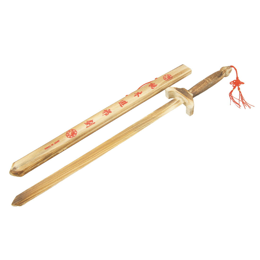 Red Tassel Detailing Chinese Characters Print Scabbard Wooden Toy Broadsword