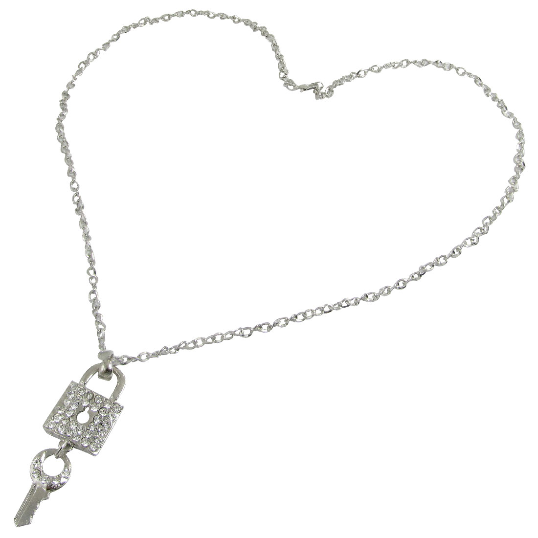 Rhinestone Inlaid Key Lock Lobster Clasps Chain Necklace Silver Tone