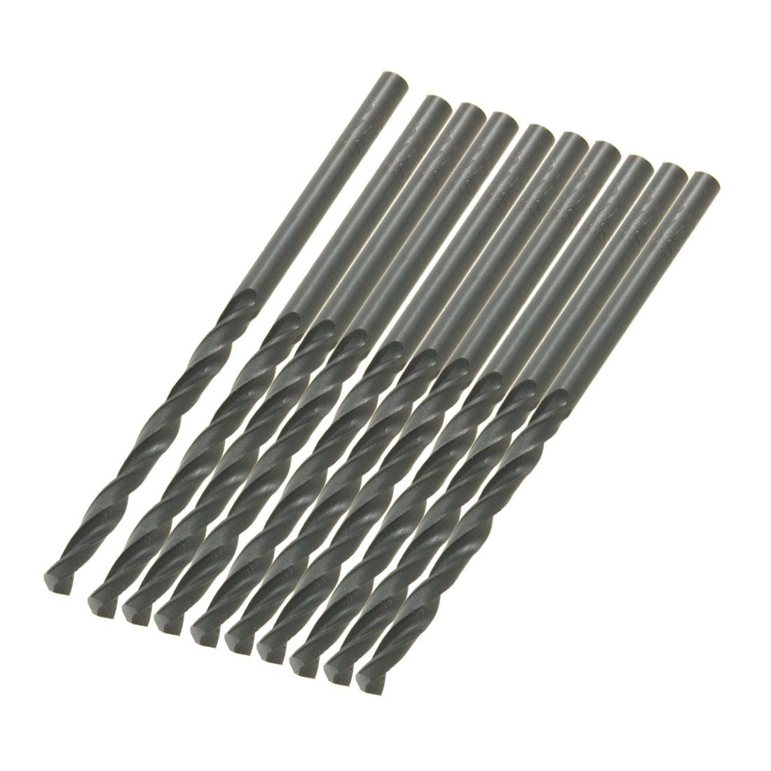 10 Pcs HSS Straight Shank 3.5mm Diameter 71mm Long Twist Drill Bits Black