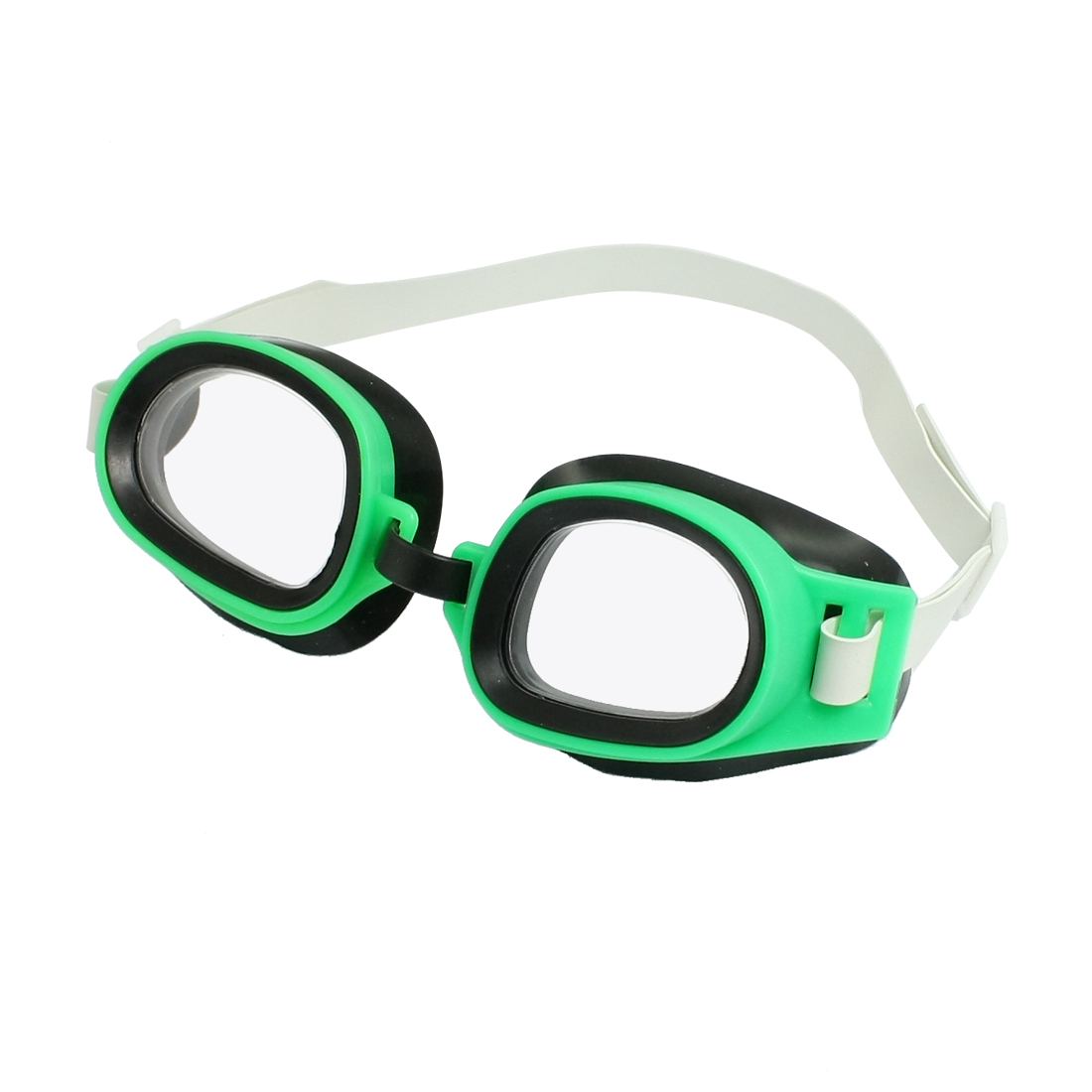 Green Plastic Frame Adjustable Strap Swimming Goggles Glasses