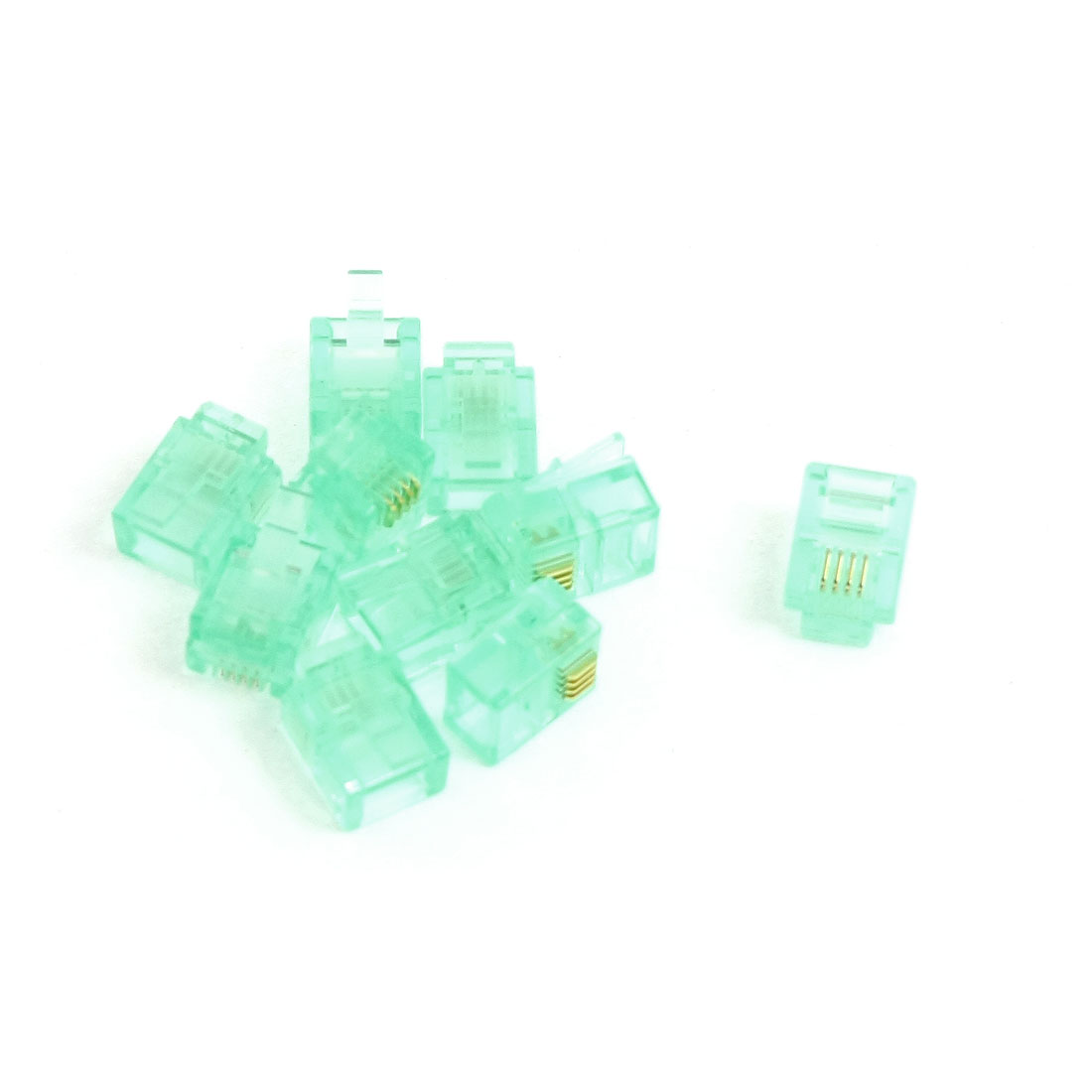 10 Pcs 6P4C RJ11 Connector Light Green for Telephone Cable