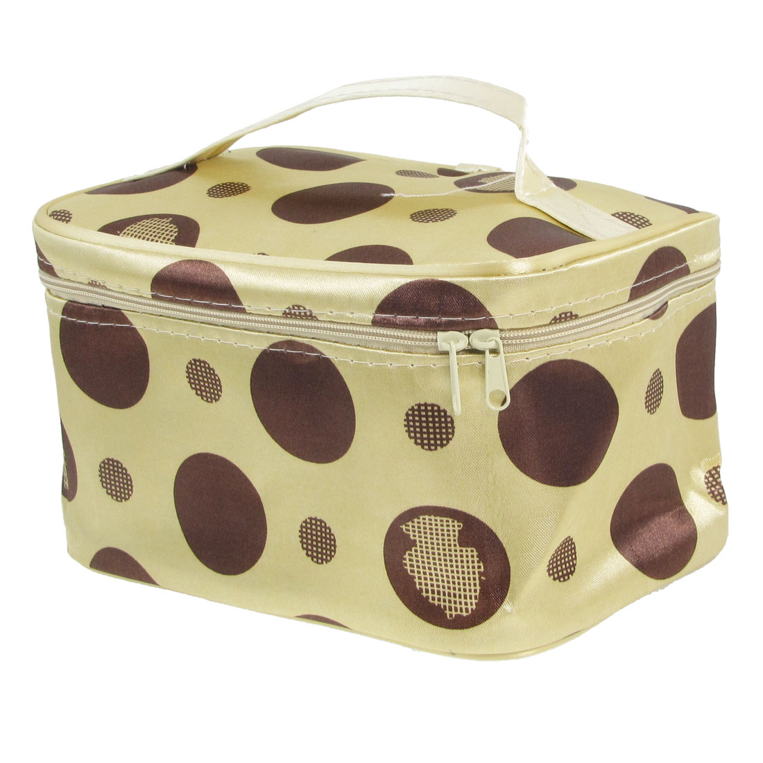 Women Coffee Color Dots Print Beige Cosmetic Makeup Mirror Hand Bag