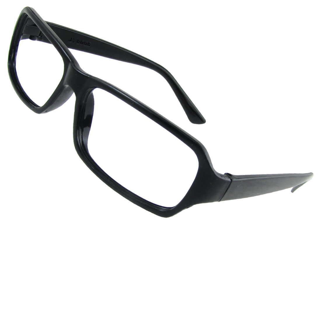 Woman Single Bridge Black Plastic No Lens Eyeglasses Frame