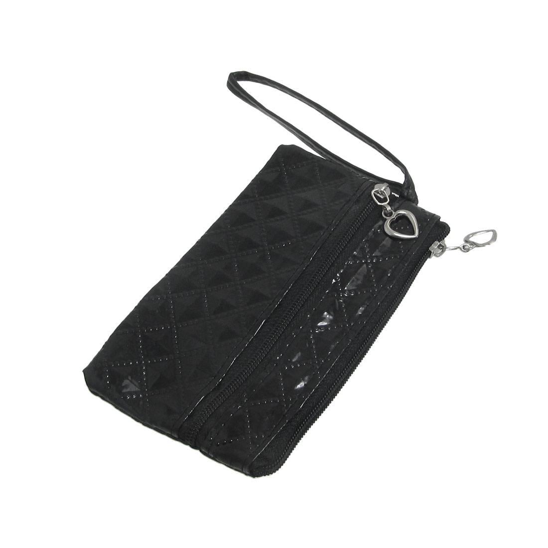 Black PVC Faux Leather Rhombus Print 2 Pockets Phone Pouch Purse