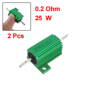 25W 0.2 Ohm Screw Tap Mounted Aluminum Housed Wirewound Resistors 2 Pcs