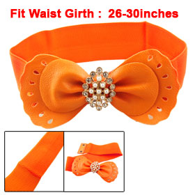 Cut Out Bowknot Orange Stretchy 6CM Wide Cinch Belt for Woman