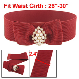 Women White Beads Ornament Red Elastic 6CM Wide Elastic Cinch Belt