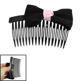 "4"" Wide Black Bow Tie Rhinestone Accent Black Plastic Hair Comb for Lady"