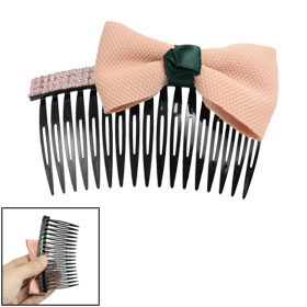 Carnation Pink Bow Tie Rhinestone Decor Black Plastic Hair Comb 4""