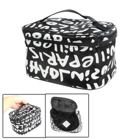 Ladies Zipper Closure White English Letters Pattern Makeup Bag Black