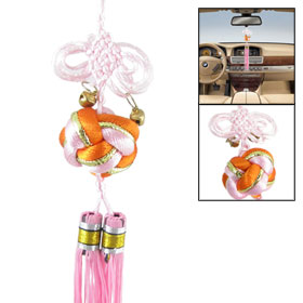 Double Pink Long Tassels Design Chinese Knot Decor for Vehicles