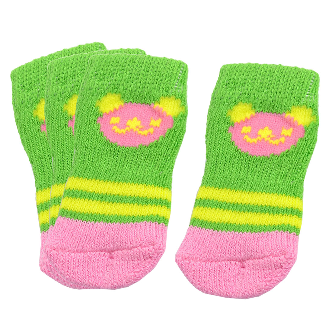 Doggy Pet Yellow Striped Stretchy Knitted Socks Green Pink 2 Pairs