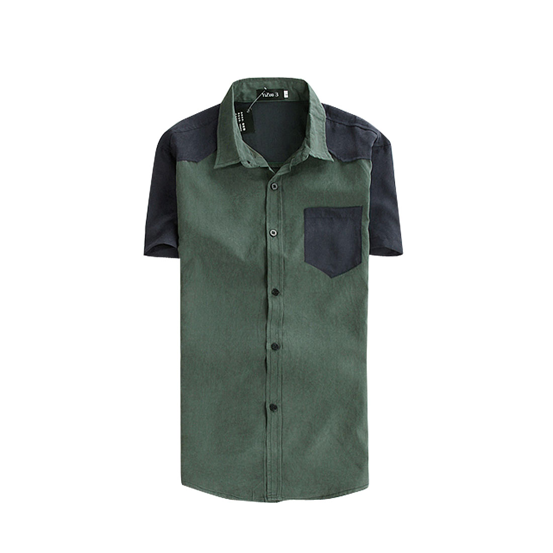 NEW Fashion Mens Slim Fitted Short Sleeve Casual Shirt Tops Army Green S