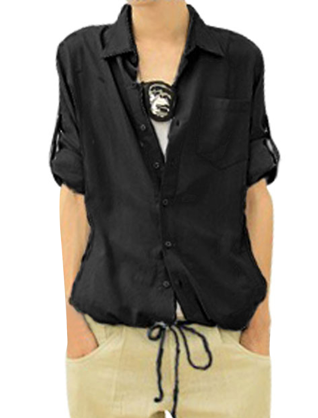Mens NEW Roll-up Sleeve Summer Casual Shirt Tops Black S
