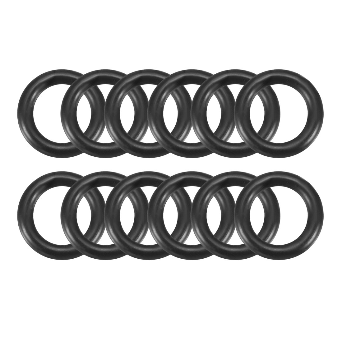 Black 10.5mm x 2.0mm Rubber Sealing Washers Oil Seal O Rings 12 Pcs