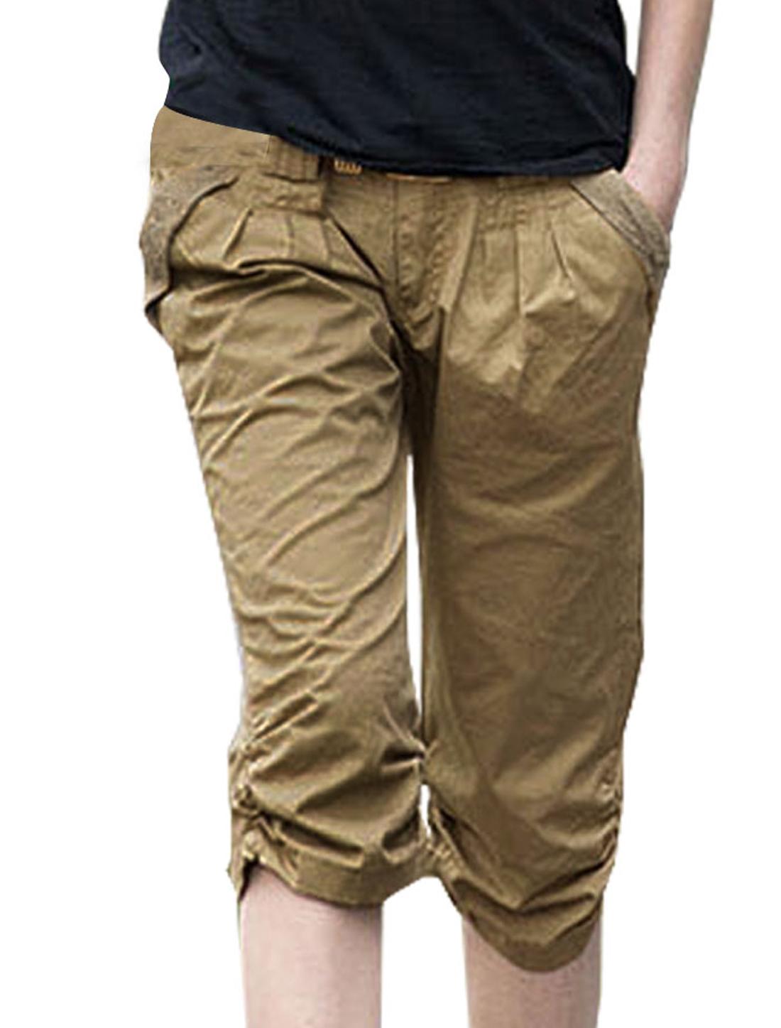 Ladies Khaki Lace Decor Fake Hip Pockets Belt Loop Casual Trousers Pants S