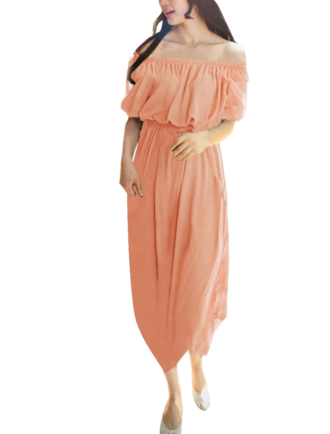 Women Chiffon Off Shoulder Semi Sheer Short Sleeve Dress Salmon Pink XS
