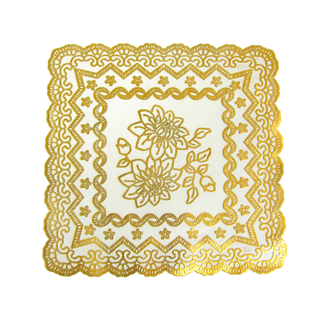 2 Pieces Square Flower Pattern Table Coasters Cup Mat Pad White Gold Tone