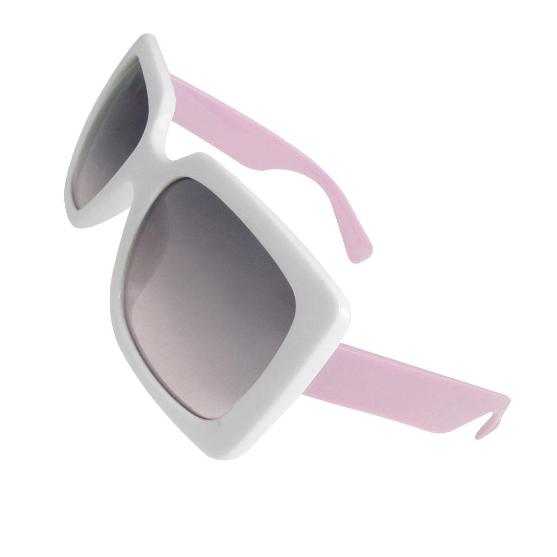 White Plastic Full Rim Dark Oversized Lens Sunglasses for Lady