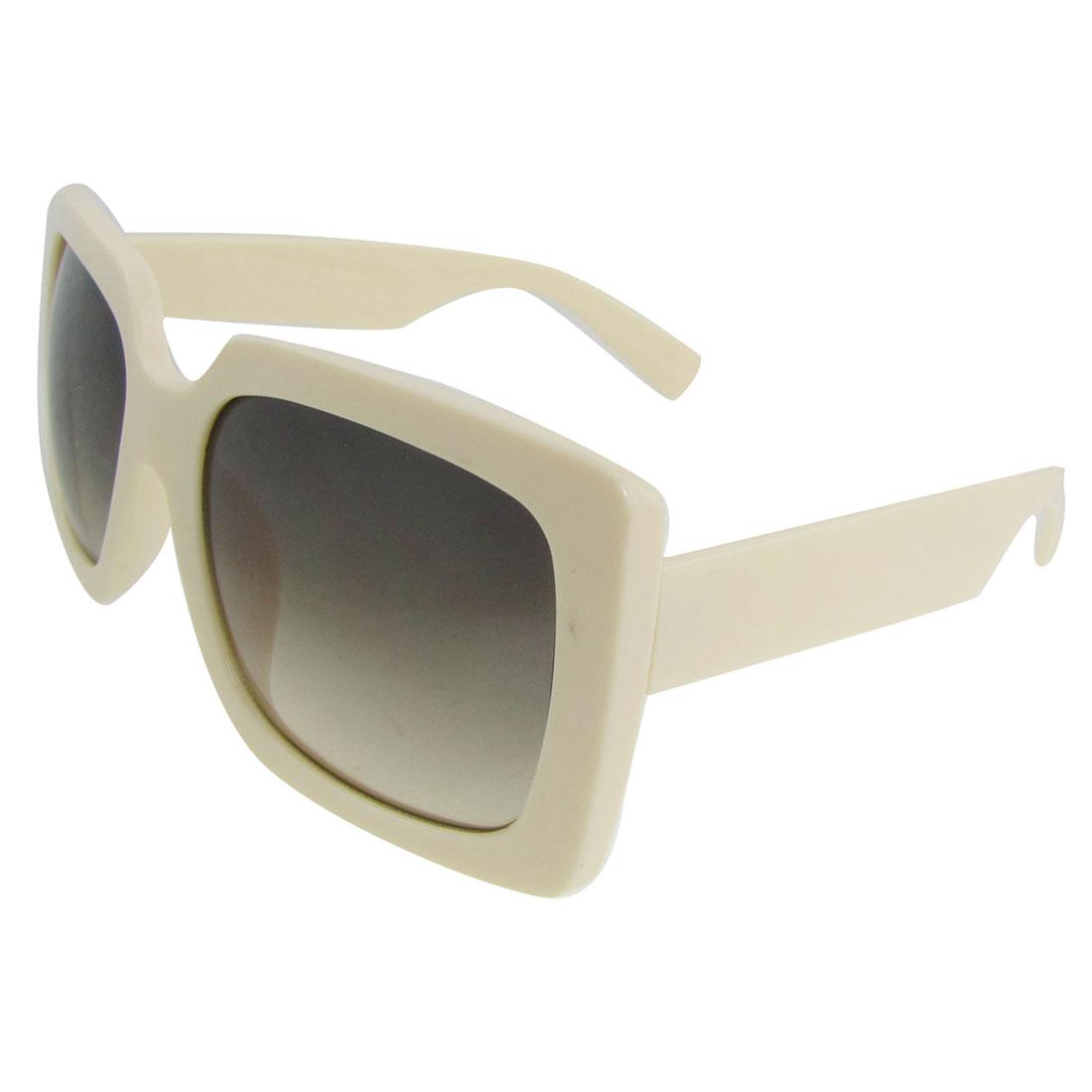 Lady Ivory Plastic Full Rim Broad Arms Oversized Lens Sunglasses Eyeglasses