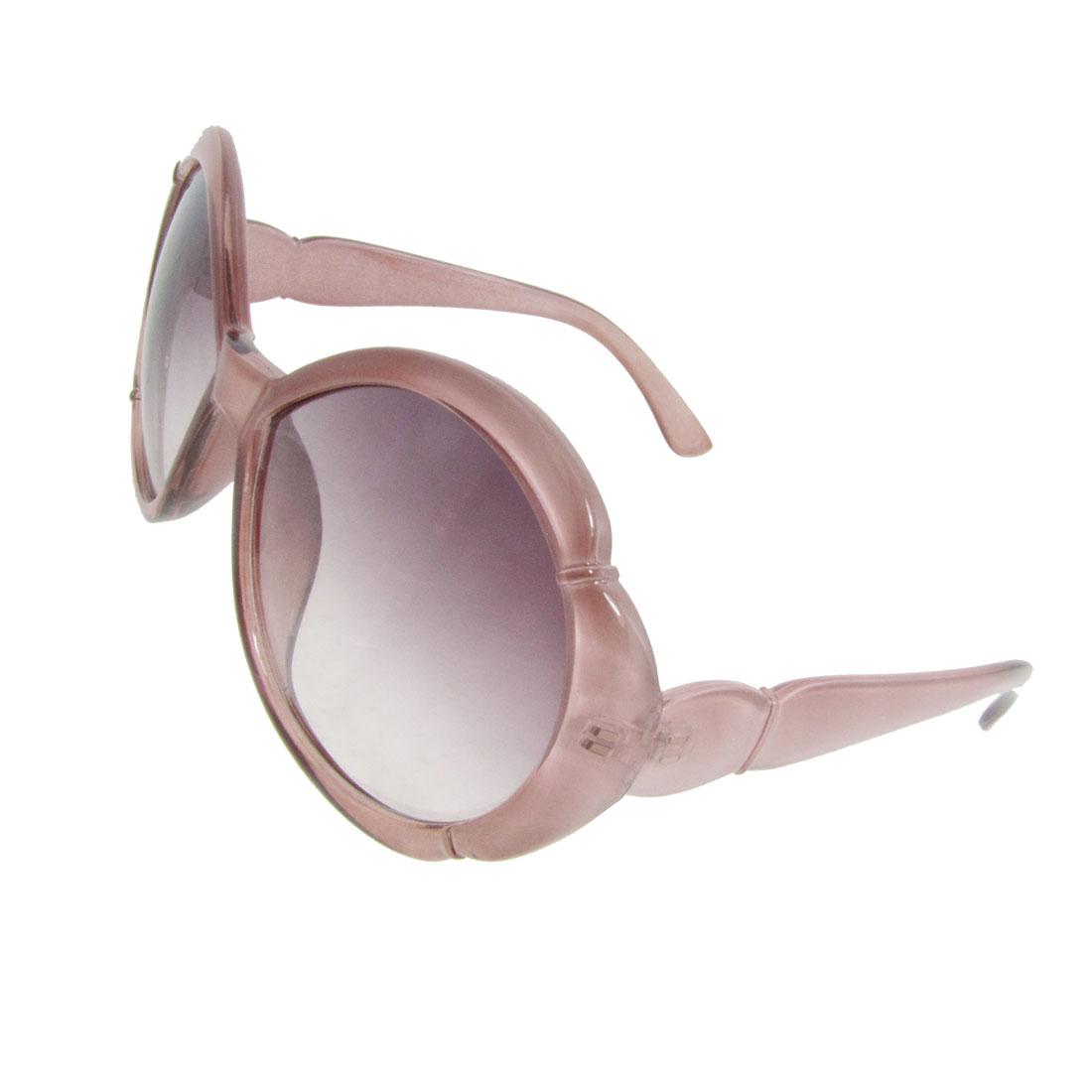 Woman Light Red Plastic Full Frame Circle Oversized Lens Sunglasses Spectacles