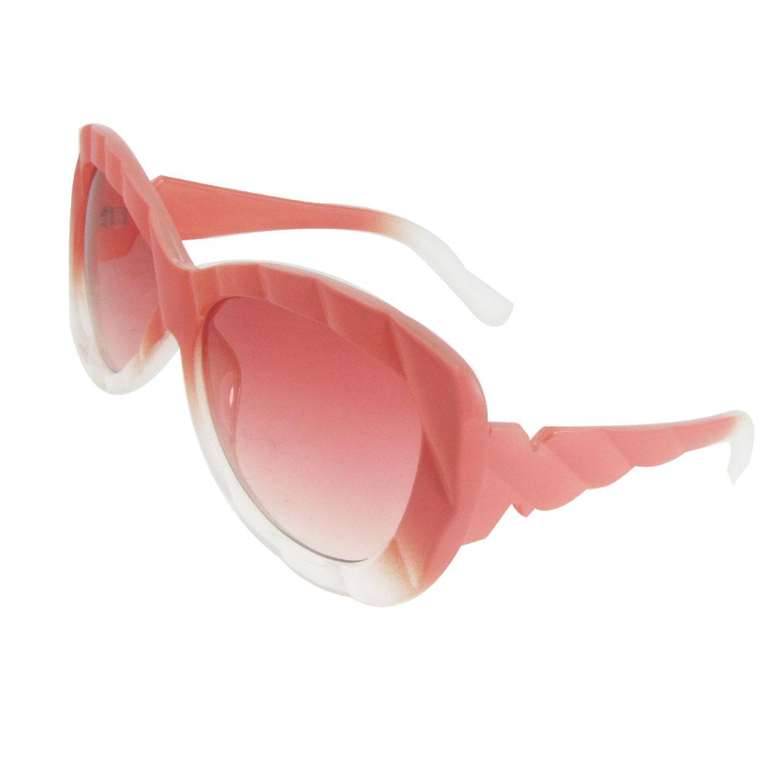 Light Red Plastic Full Frame Oversized Lens Sunglasses Eyeglasses for Woman