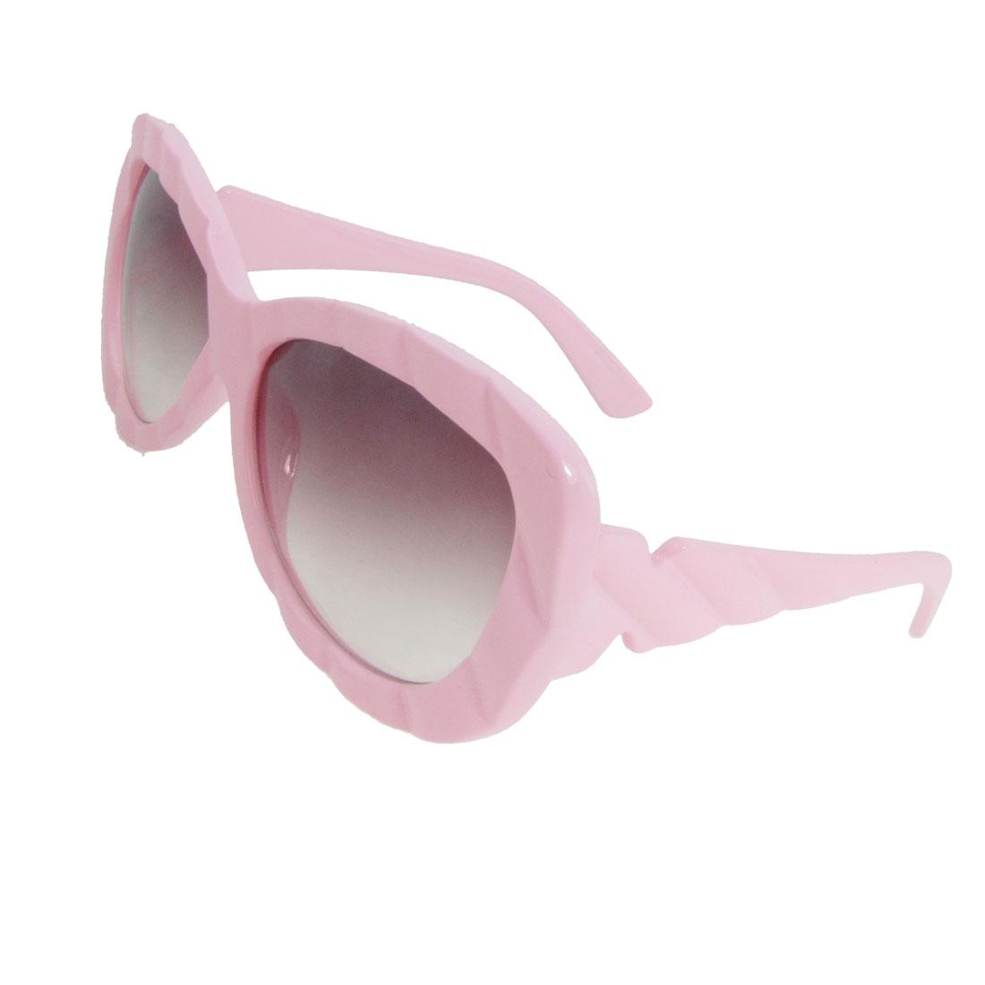 Lady Pink Plastic Full Frame Oversized Lens Sunglasses Eyeglasses
