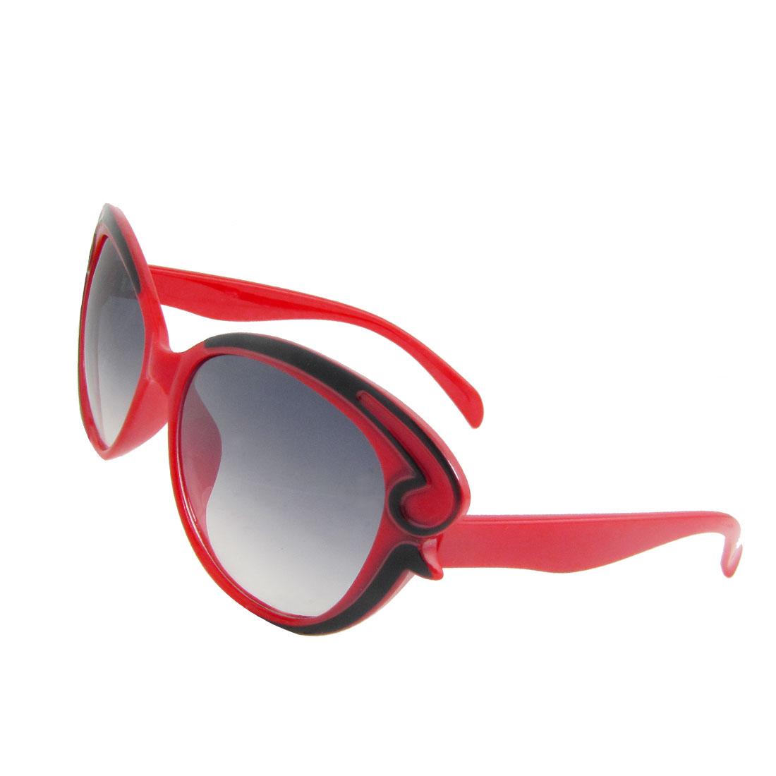 Red Plastic Full Frame Oversized Dark Lens Sunglasses Spectacles for Lady
