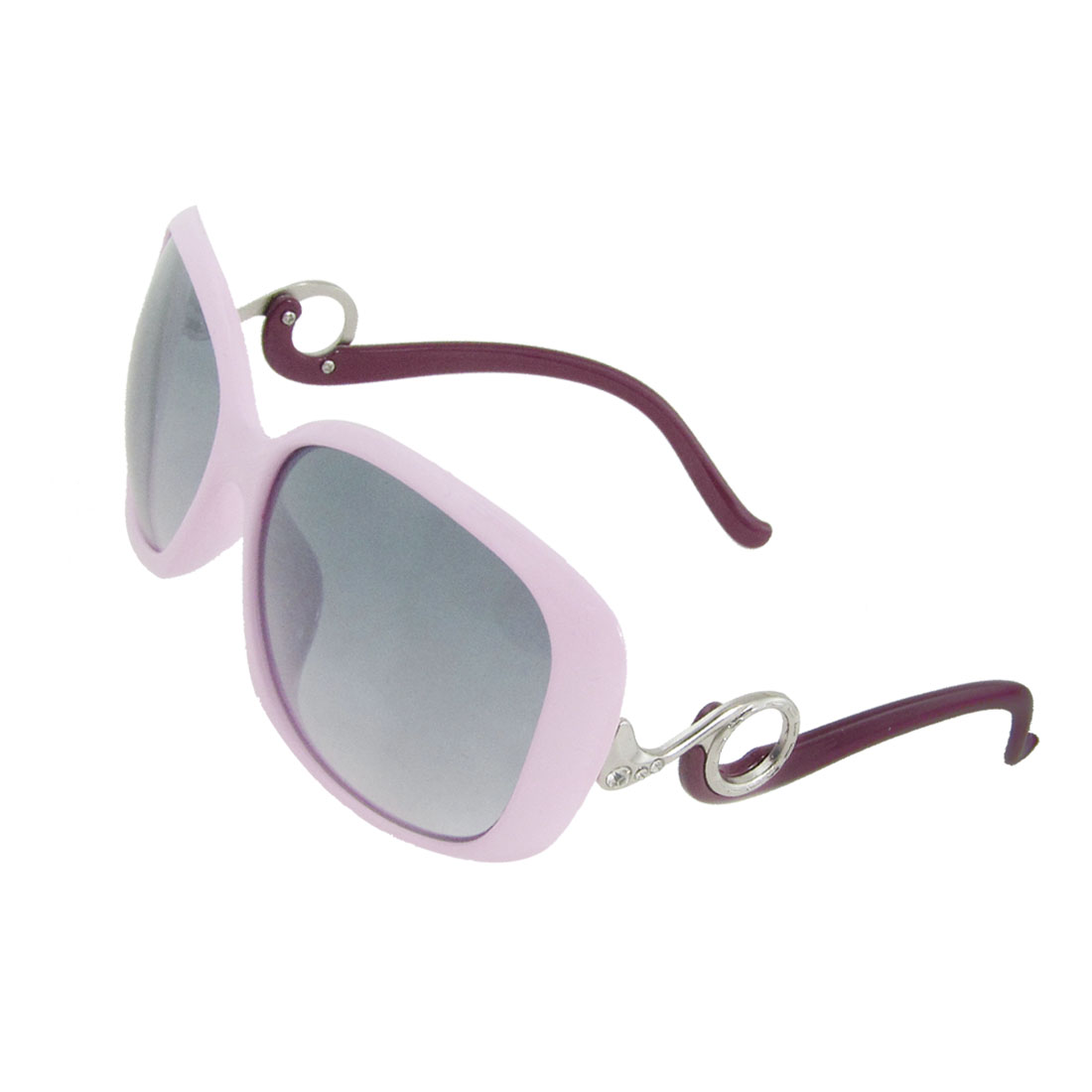 Woman Pink Plastic Full Frame Slims Arms Oversized Lens Sunglasses Spectacle