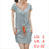 Ladies Gray Split Neck Short Sleeve Slant Pockets Metal Decor Mini Dress XS