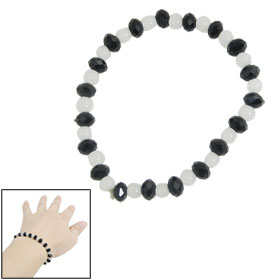 Ladies White Black Plastic Beads Strand Stretchy Bracelet