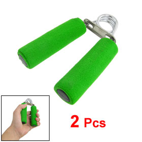 Pair Green Foam Wrapped Handle Silver Tone Metal Spring Resistance Hand Grip
