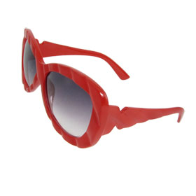 Red Plastic Full Frame Oversized Lens Sunglasses Spectacles for Woman