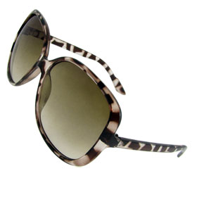 Lady Brown Leopard Prints Full Frame Oversized Lens Sports 70s Sunglasses Eyewear