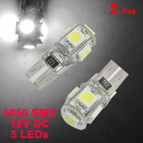 New 2 x T10 5 LEDs Car Bulb 5050 SMD Canbus Error Free LED Light Interior White