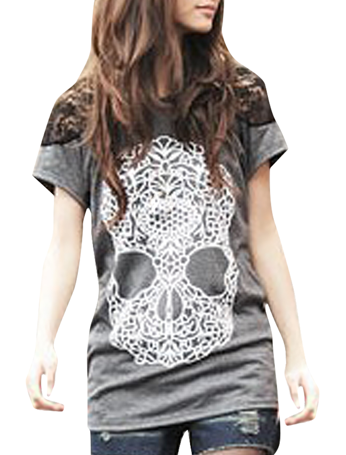Scoop Neck Skull Pattern Front Light Gray Pullover Shirt S for Ladies