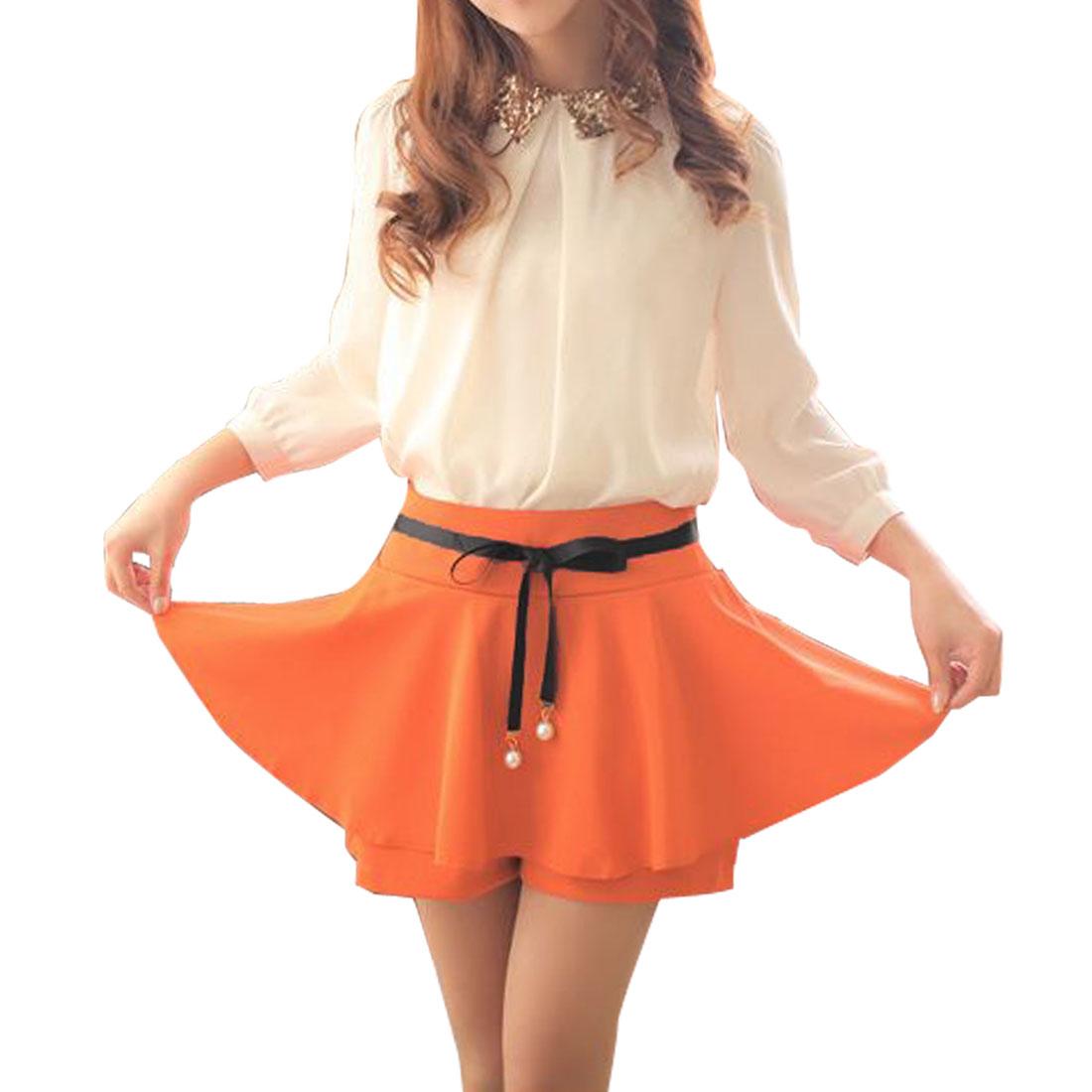 Women Mid Rise Split Back Mini Skort w Self Tie String Orange XS