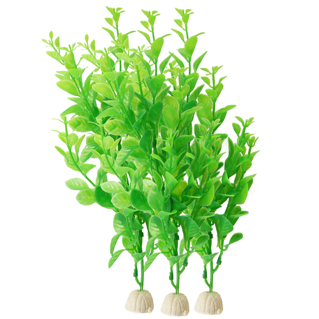 "Aquarium Green Plastic Artificial Aquatic Grass Plant Decor 9.8"" Height 3 Pcs"